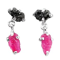 925 silver 7.57cts natural diamond rough ruby raw dangle earrings t25704