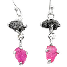 925 silver 9.02cts natural diamond rough ruby raw dangle earrings t25794