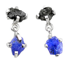 925 silver 7.96cts natural diamond rough tanzanite raw dangle earrings t25773