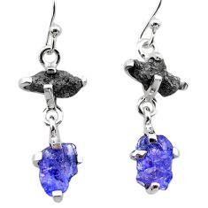 925 silver 7.82cts natural diamond rough tanzanite raw dangle earrings t26778