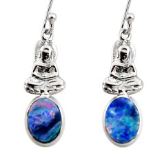 925 silver 2.96cts natural doublet opal australian buddha charm earrings r48166