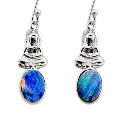 925 silver 2.23cts natural doublet opal australian buddha charm earrings r48170