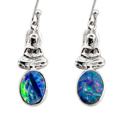 925 silver 2.38cts natural doublet opal australian buddha charm earrings r48179