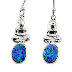 925 silver 2.38cts natural doublet opal australian buddha charm earrings r48198