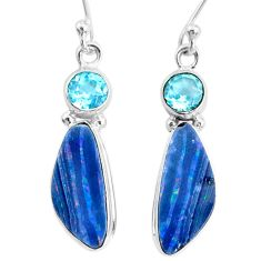 925 silver 8.49cts natural doublet opal australian topaz earrings jewelry r72734
