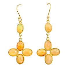 925 silver 9.77cts natural ethiopian opal 14k gold dangle earrings t23969
