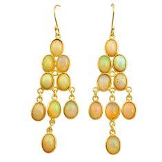 925 silver 16.32cts natural ethiopian opal 14k gold dangle earrings t23988