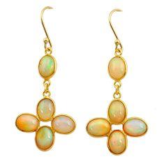 925 silver 10.33cts natural ethiopian opal 14k gold dangle earrings t23994