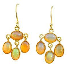 925 silver 6.36cts natural ethiopian opal 14k gold dangle earrings t23999