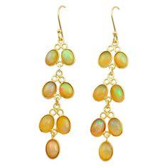 925 silver 10.89cts natural ethiopian opal 14k gold dangle earrings t24004