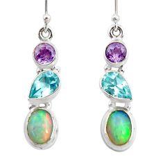 925 silver 8.03cts natural ethiopian opal amethyst topaz dangle earrings r47535