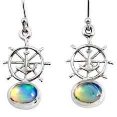 925 silver 3.83cts natural ethiopian opal dangle anchor charm earrings r51024