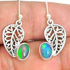 925 silver 2.95cts natural ethiopian opal deltoid leaf earrings jewelry r76247
