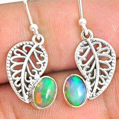 925 silver 3.16cts natural ethiopian opal deltoid leaf earrings jewelry r76268