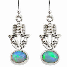 925 silver 4.06cts natural ethiopian opal hand of god hamsa earrings r47439