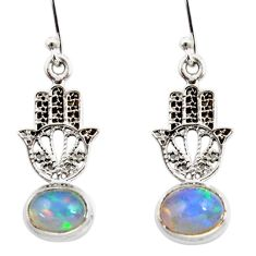 925 silver 4.04cts natural ethiopian opal hand of god hamsa earrings r47457