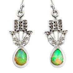 925 silver 3.91cts natural ethiopian opal hand of god hamsa earrings r51028