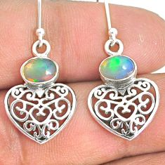 925 silver 2.93cts natural ethiopian opal heart love earrings jewelry r76256