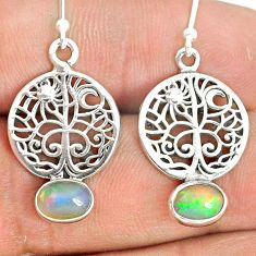925 silver 3.13cts natural ethiopian opal tree of life earrings jewelry r76280