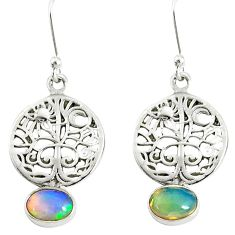 925 silver 3.06cts natural ethiopian opal tree of life earrings jewelry r76714