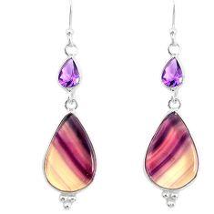 925 silver 16.04cts natural fluorite amethyst dangle earrings r86668