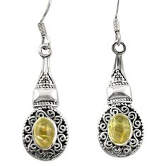 925 silver 3.29cts natural golden tourmaline rutile dangle earrings d46956