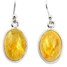 925 silver 12.36cts natural golden tourmaline rutile dangle earrings r26289