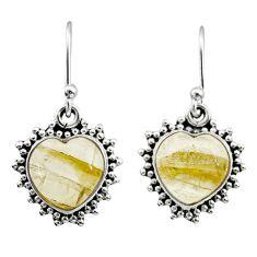 925 silver 7.94cts natural golden tourmaline rutile dangle earrings t41560