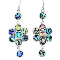 925 silver 7.97cts natural green abalone paua seashell chandelier earrings t4749