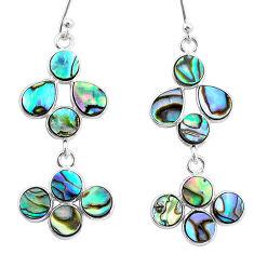 925 silver 9.72cts natural green abalone paua seashell chandelier earrings t4813