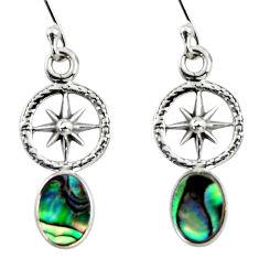 925 silver 3.15cts natural green abalone paua seashell dangle earrings r48223
