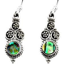 925 silver 0.80cts natural green abalone paua seashell dangle earrings r54052