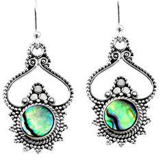 925 silver 5.11cts natural green abalone paua seashell dangle earrings r54068