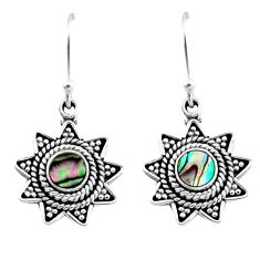 925 silver 0.78cts natural green abalone paua seashell dangle earrings r54213