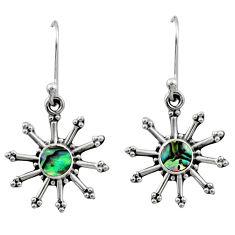 925 silver 0.87cts natural green abalone paua seashell dangle earrings r54249
