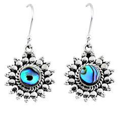 925 silver 2.93cts natural green abalone paua seashell dangle earrings r55164
