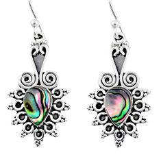 925 silver 3.87cts natural green abalone paua seashell dangle earrings r55204