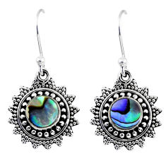 925 silver 4.08cts natural green abalone paua seashell dangle earrings r55225
