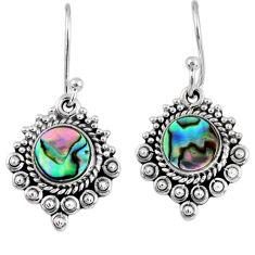 925 silver 4.43cts natural green abalone paua seashell dangle earrings r55264