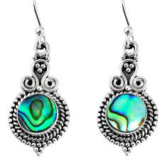 925 silver 4.71cts natural green abalone paua seashell dangle earrings r59528
