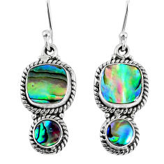 925 silver 6.36cts natural green abalone paua seashell dangle earrings r59828