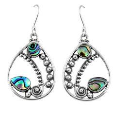 925 silver 4.70cts natural green abalone paua seashell dangle earrings r59872