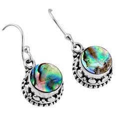 925 silver 4.66cts natural green abalone paua seashell dangle earrings r60152