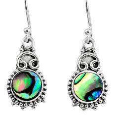 925 silver 3.91cts natural green abalone paua seashell dangle earrings r60428