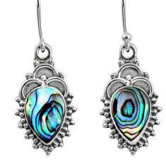 925 silver 4.08cts natural green abalone paua seashell dangle earrings r60445