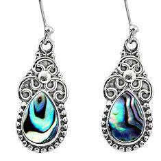 925 silver 4.69cts natural green abalone paua seashell dangle earrings r60544