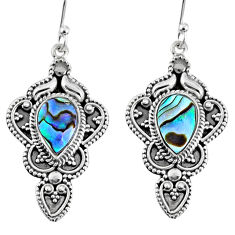 925 silver 4.55cts natural green abalone paua seashell dangle earrings r60984