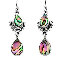 925 silver 5.79cts natural green abalone paua seashell dangle earrings r64124