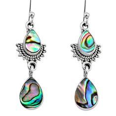 925 silver 5.79cts natural green abalone paua seashell dangle earrings r64128