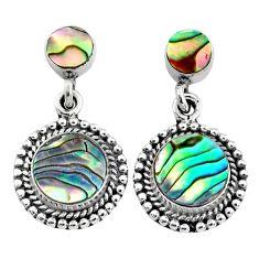 925 silver 6.82cts natural green abalone paua seashell dangle earrings r64165